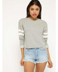Miss Selfridge - Gray Grey Stripe Sleeve Sweatshirt - Lyst