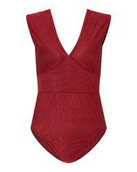 Miss Selfridge - Red Petite Rust Plisse Body - Lyst
