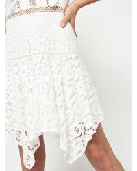 Miss Selfridge - White Floral Lace Hanky Hem Dress - Lyst