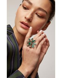 Wendy Yue - Green Emerald And Diamond Double Ring - Lyst