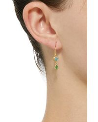 Mallary Marks - Green Bonbon 18k Gold, Blue Zircon And Tsavorite Earrings - Lyst