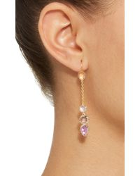 Larkspur & Hawk - Pink Caterina Chain Gold And Quartz Earrings - Lyst