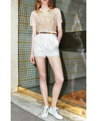 Carven - White High-waisted Cotton Eyelet Shorts - Lyst