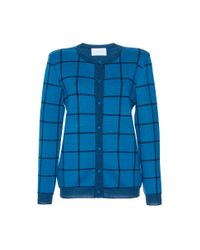 Luisa Beccaria - Blue Wool Checked Knit Cardigan - Lyst