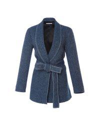 Rosetta Getty - Blue Split Shawl Collar Tweed Jacket - Lyst
