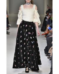 Luisa Beccaria - Black Embroidered Velvet Full Skirt - Lyst