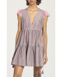 lemlem - Purple Mbali Short Ruffle Dress - Lyst