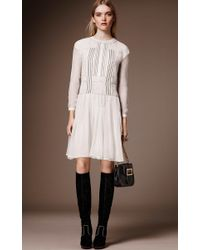 Burberry - Multicolor Silk Crepon Drop Waist Dress - Lyst