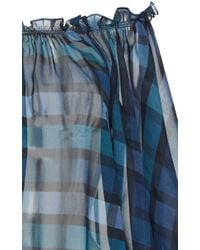 Luisa Beccaria - Blue Checked Printed Georgette Blouse - Lyst