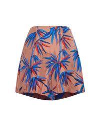 Emilio Pucci - Blue Leaf Print Silk Shorts - Lyst