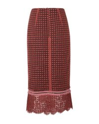 Dorothee Schumacher - Red Playful Structures Lace Pencil Skirt - Lyst