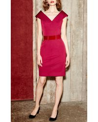 Paule Ka - Red Ottoman Stretch Sheath Dress - Lyst