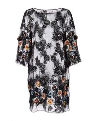 SUNO | Black Short Splatter Print Silk Dress | Lyst