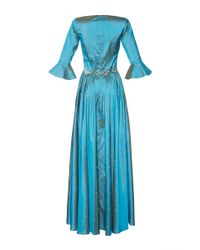 Luisa Beccaria - Blue Taffeta Embroidered Dress - Lyst