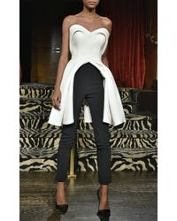 Brandon Maxwell - White Crepe Silk Sweetheart Bodice Top - Lyst