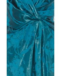 Paule Ka - Blue Jacquard V Neck Draped Gown - Lyst