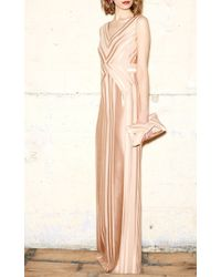Paule Ka - Natural Pleated Printed Gown - Lyst