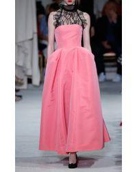 Oscar de la Renta - Blue Silk Pleat Detail Ball Gown - Lyst