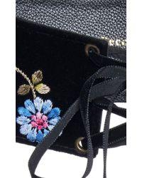 Luisa Beccaria | Black Embroidered Velvet Bustier Belt | Lyst