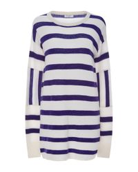 Equipment - Blue Cashmere Contrast Striped Sweater - Lyst