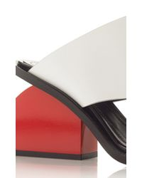 Marni - Natural White Calf Leather Mule With A Red Heel - Lyst