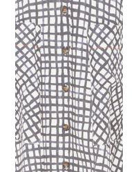 Saloni - Black Cotton Printed Button Front Leah Skirt - Lyst
