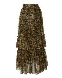 Ulla Johnson Black Maria Floral Silk-chiffon Midi Skirt