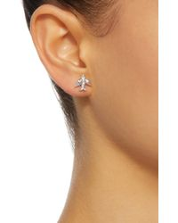 Colette - Metallic Mini Bird 18k White Gold Diamond Earrings - Lyst
