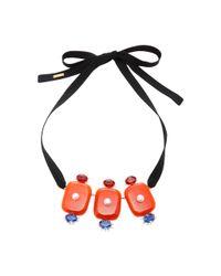 Marni - Orange Resin Ribbon Necklace - Lyst