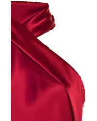 Galvan - Red Halter Neck Satin Top - Lyst
