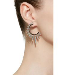 Nickho Rey - Blue Sunburst Turquoise And Black Spinel 14k Rose Gold Vermeil Hoop Earrings - Lyst