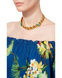 Paula Mendoza | Metallic Emerald And Gold Hexagon Choker | Lyst