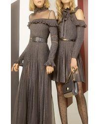Elie Saab - Metallic Ruffled Long Sleeve Knit Dress - Lyst
