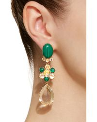 Bounkit - Green Malachite, And Quartz 14k Gold-plated Brass Fish Hook Earrings - Lyst