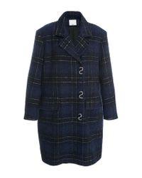 Tibi | Blue Oversized Plaid Coat | Lyst