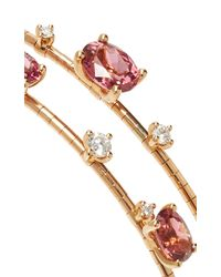 Mattia Cielo - Two-circle Wrap Diamond And Pink Tourmaline Bracelet - Lyst