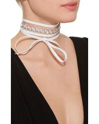Fallon - White Monarch Jagged Edge Leather Wrap Choker - Lyst