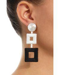 Oscar de la Renta - Metallic Double Square Wrapped Earrings - Lyst