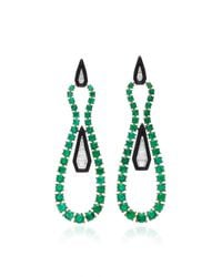 Nikos Koulis - Green Oui Earring With Tapered Baguette White Diamond And Round Emerald And Black Enamel - Lyst