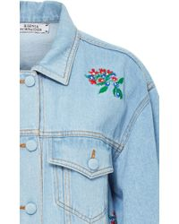 Ksenia Schnaider   Multicolor Light Wash Denim Jacket With Embroidered Flowers   Lyst