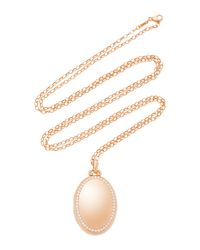 "Monica Rich Kosann - Metallic M'onogrammable 18k Rose Gold And Diamond ""premier"" Four Image Oval Locket On 32"" Chain - Lyst"