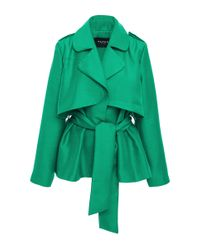 Paper London - Blue Short Trench Jacket With Wrap Front - Lyst
