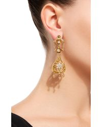 Fred Leighton - Metallic 18k French Victorian Yellow Gold And Diamond Floral Motif Pendant Earrings - Lyst