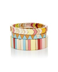 Roxanne Assoulin - Pink Set Of Three Enamel And Gold-tone Bracelets - Lyst