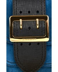Burberry - Blue Calf Suede Square Bag - Lyst