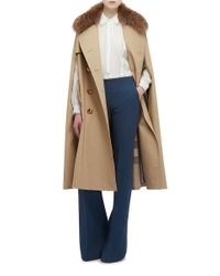 Burberry - Multicolor Trench Cape With Raccoon Collar - Lyst