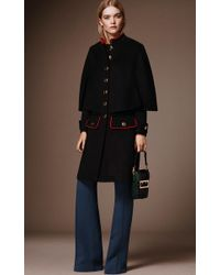 Burberry - Black Cashmere Military Cape Coat - Lyst