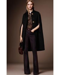 Burberry - Black Cashmere Military Cape - Lyst