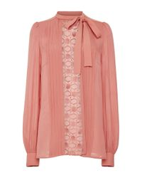 Elie Saab | Pink Crepe Cady And Lace Long Sleeve Shirt | Lyst