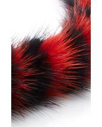Mary Katrantzou - Red Mink Intarsia Twisted Collar - Lyst